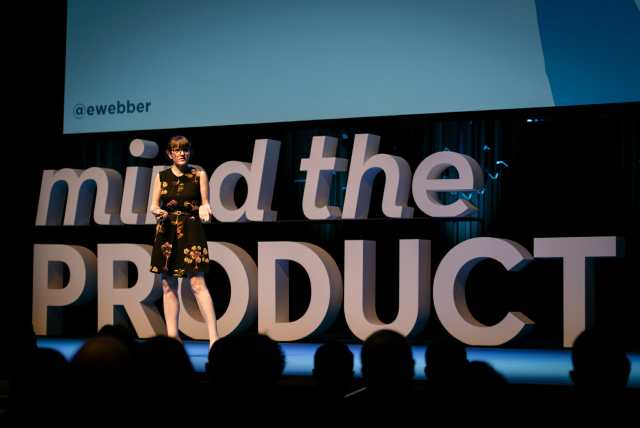 Emily Webber on stage at Mind the Product London 2018