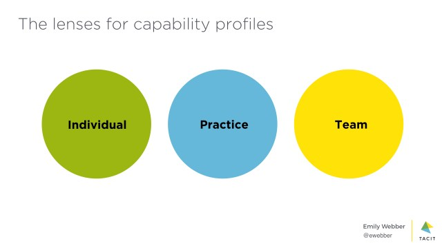 The lenses for capability profiles are individual, practice and team