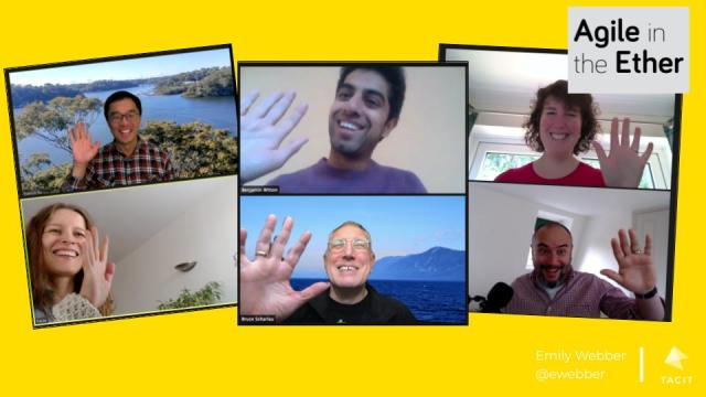 Screenshots of pairs of people waving over video chat