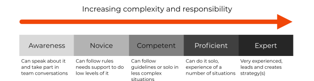 Showing the levels of awareness, novice, competent, proficient and expert. With increasing complexity and responsibility