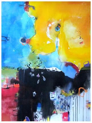 """watercolor, pastel on paper   30""""h x 22""""w   SOLD"""