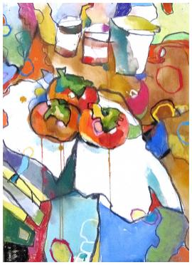 """persimmons   watercolor, pastel on paper   30"""" x 22""""   SOLD   giclee available for $425"""