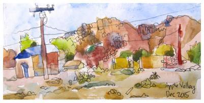Watercolor, pencil work done in sketchbook