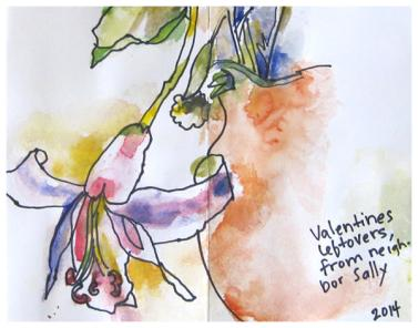 Valentine's Day sketch from sketchbook | watercolor, pencil