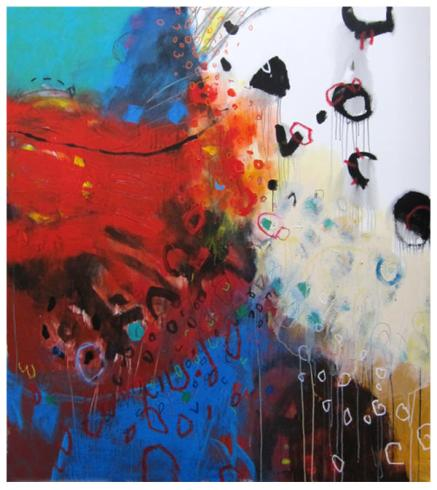 """acrylic on canva   68"""" x 60"""" x   $5600 (stretched)"""