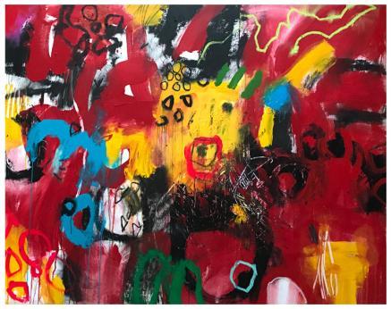 "acrylic, oil stick, pencil on canvas   55"" x 67""   $4790"