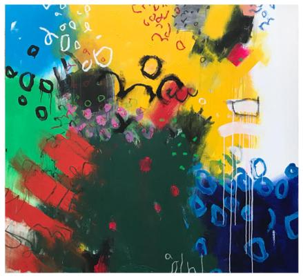 "acrylic, oil pastel on canvas   61"" x 66""   $5250"