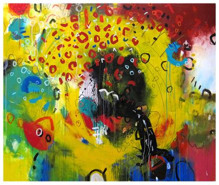 """acrylic on canvas   55"""" x 65""""   $4900 (stretched)"""