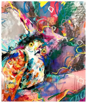"""watercolor, pastel on paper   22"""" x 28""""   $775"""