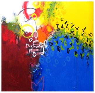 "acrylic, oil pastel on canvas   62""h x 65""w   $5240"