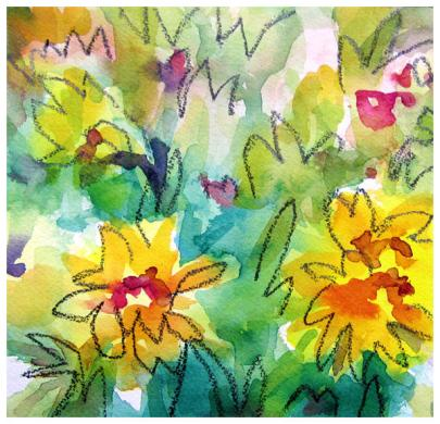 """watercolor, pencil on paper   7.5"""" x 7.5""""   SOLD   giclee available $35"""