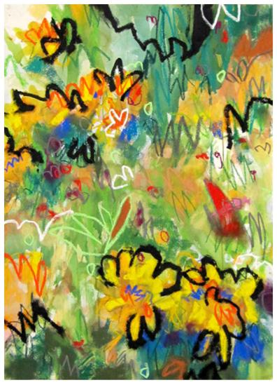 """watercolor, pastel, oil stick on paper   30"""" x 22""""   SOLD"""