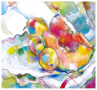 "watercolor, pencil, pastel on paper   11.5"" x 12.5""   $185"