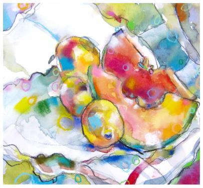 "watercolor, pencil, pastel on paper | 11.5"" x 12.5"" | $185"