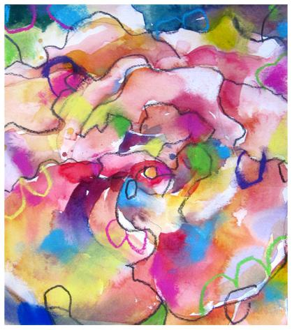 "watercolor, pencil, pastel on paper   12"" x 10.5""   $165"