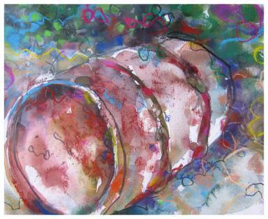 "watercolor, pastel, pencil on paper   12"" x 14.5""   $2258"