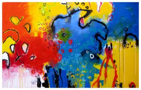 "acrylic, oil pastel on canvas | 42"" x 67"" | $3650"