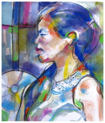 "watercolor, pastel, pencil on paper | 14.5"" x 12.5"" | $235"