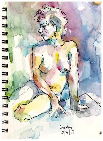 "watercolor, pen on paper | 8.5"" x 5.5"" | $60"