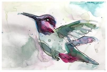 """watercolor, pen on paper   5"""" x 8""""   SOLD"""