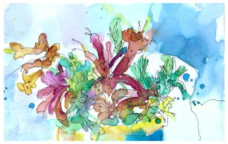 """watercolor sketch on paper   8.5"""" x 5.5""""   $60"""