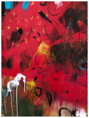 """acrylic, India ink, pencil, watercolor on paper   30"""" x 22""""   $795"""