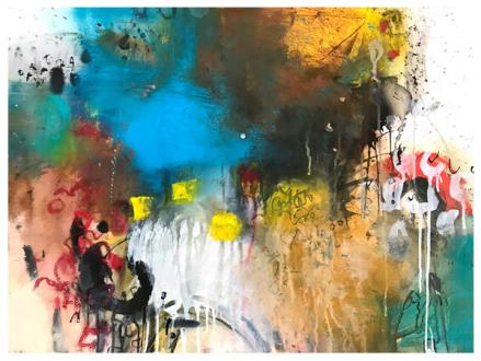 """acrylic, ink, oil pastel, pencil, chalk pastel on paper   22"""" x 30""""   $795"""