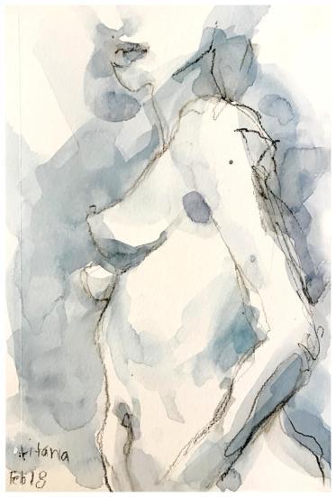 "watercolor, watercolor pencil on paper   5.5"" x 8.5""   $60"