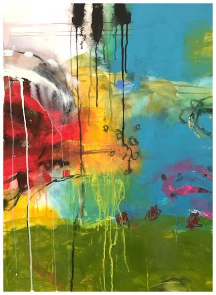 """acrylic, pencil, watercolor on paper   30"""" x 22""""   $795"""