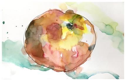 "watercolor, pen on paper | 5.5"" x 8.5 | $60"