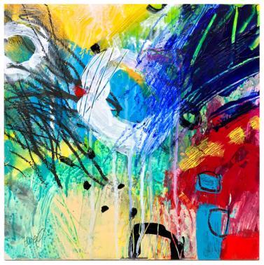 "acrylic, crayon, pencil on clayboard   12"" x 12""   $185"