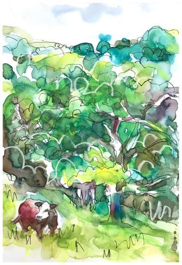 "watercolor, pen, pastel on paper | 7"" x 10"" | SOLD"