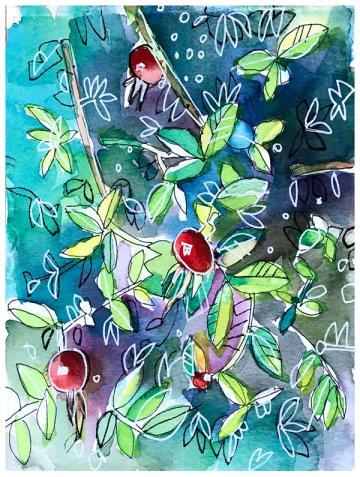 "watercolor, pen on paper   6"" x 7.25""   $55"