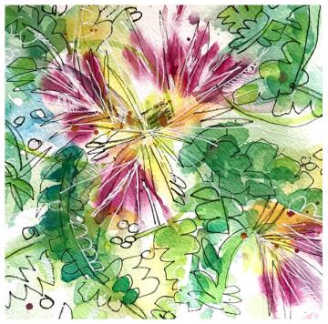 """watercolor, pen on paper   8"""" x 8   $80   SOLD"""