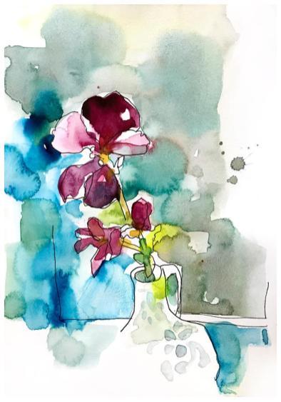 "watercolor, pen on paper | 8"" x 6"" | $60"
