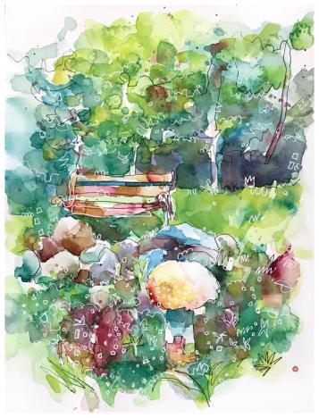 "watercolor, pen on paper | 9"" x 12"" | $140"