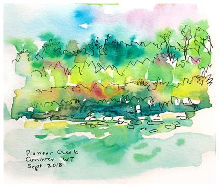 "watercolor, pen on paper   5.5"" x 5.5""   $40"