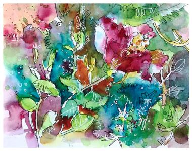 """watercolor, pen on paper   8"""" x 10""""   SOLD"""