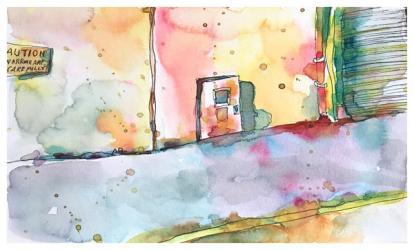"watercolor, pen on paper | 7"" x 10"" | $90"