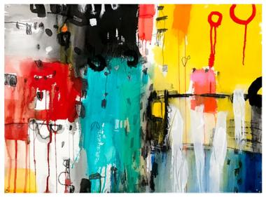 "watercolor, acrylic, pencil, pastel on paper   22"" x 30""   $795"