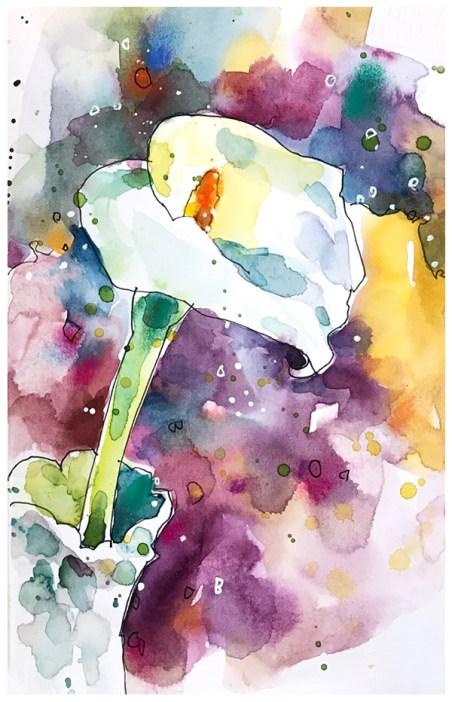 """watercolor, pen, pastel on paper   5.5"""" x 8.5""""   $60"""