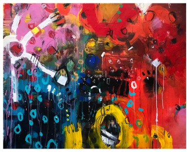 """acrylic, pencil, oil pastel on unstretched canvas 