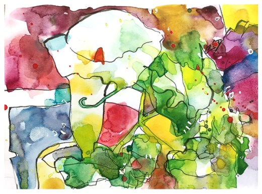 "watercolor, pen on paper   5.5"" x 7.25""   $50"