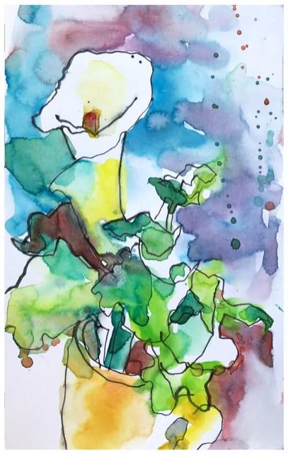 watercolor, pen on paper