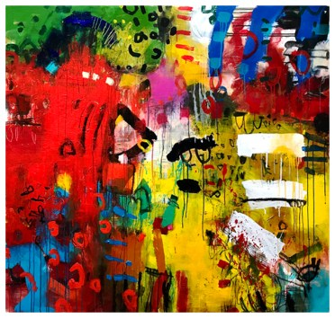 "acrylic, pencil on canvas   61""h x 58""w   $4500"