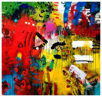 "acrylic, pencil on canvas | 61""h x 58""w | $4500"