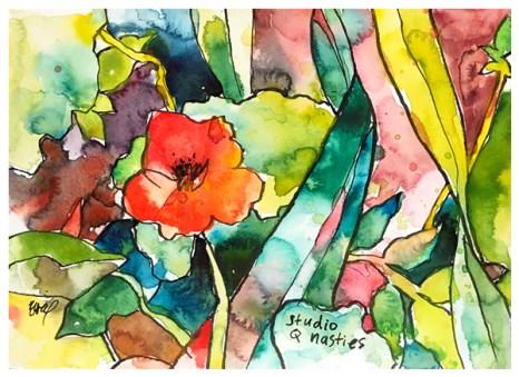 "watercolor, pen on paper   6"" x 8""   $60"