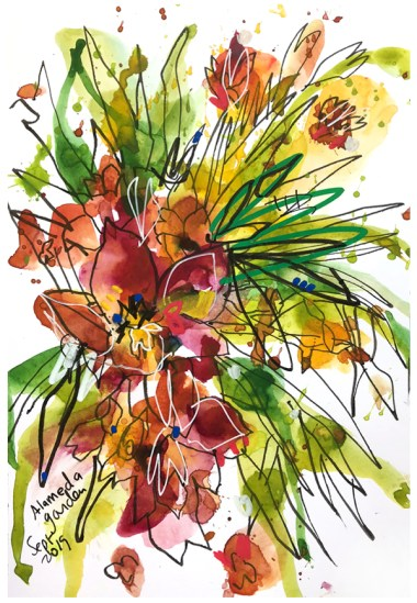 """watercolor, pen on paper   7"""" x 10""""   SOLD"""