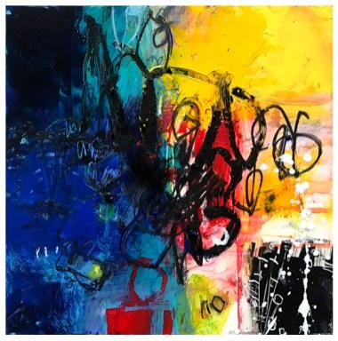 "acrylic, pencil, oil pastel on claybord   12"" x 12""   $185"