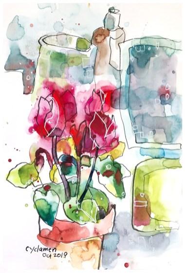 "watercolor, pen & a smidge of pastel on paper   7"" x 10""   $90"